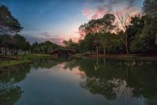 bandar botanic lake in sunset