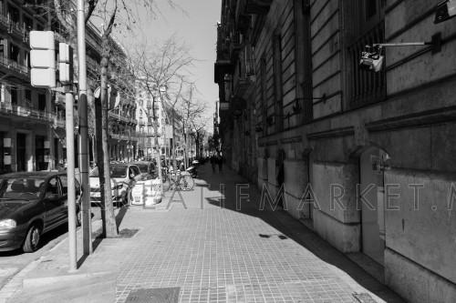 BARCELONA,SPAIN - February 26,2017: Shot of Plaça de Catalunya street  in Barcelona, Spain.