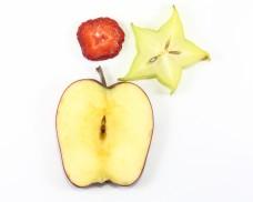 Apple star fruit strawberry slice on white background fruit art