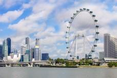 Skyline of Singapore with Singapore Flyer