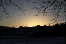 Winter sunset scene at Mondsee, Austria