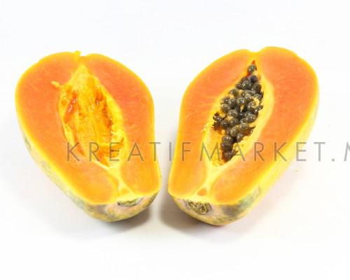 Fresh Ripe Sweet Papaya Fruit  on white background