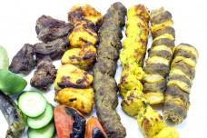Chicken Lamb Beef Mixed Grilled Kebab tikka tandoor platter