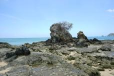 Beautiful rocky beach and sea near Kuta, Lombok Island