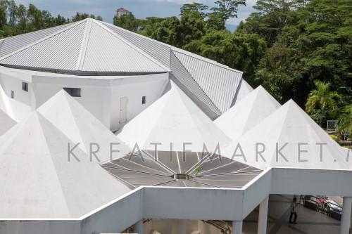 White angular building in Kuching, Sarawak, Malaysia