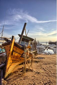 Damaged fishing boat