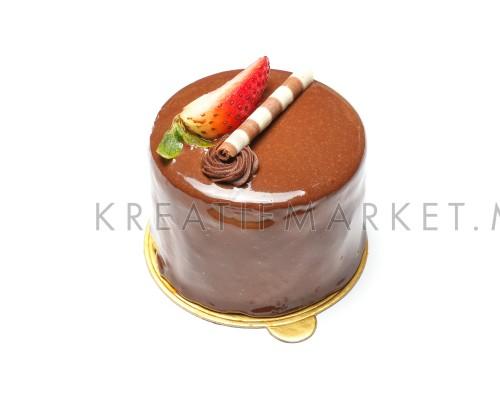 Chocolate strawberry cake pastry on white background