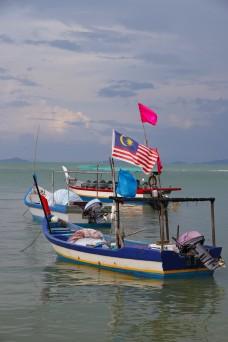 Small Boats off the coastline, Pulau Pinang, Malaysia