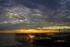Broken bridge and sunset