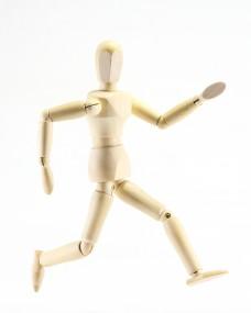 Wooden puppet expression speed run forward