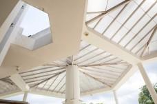 Transparent roof of angular building in Kuching, Sarawak, Malaysia