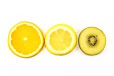 kiwi fruit orange lemon slice on white background fruit art