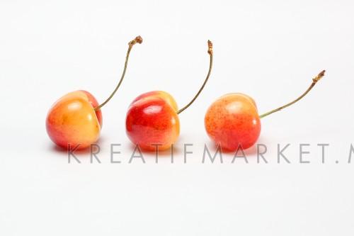 Red yellow Cherry Fruit  ripe juicy fresh on white background