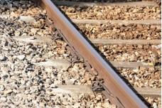 Metal steel rail transport line track stone gravel