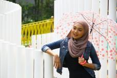 young asian girl having fun at outdoors