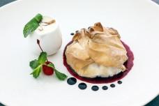 Apple pie with mint red cherry cream chocolate caramel dressing W04DEC18