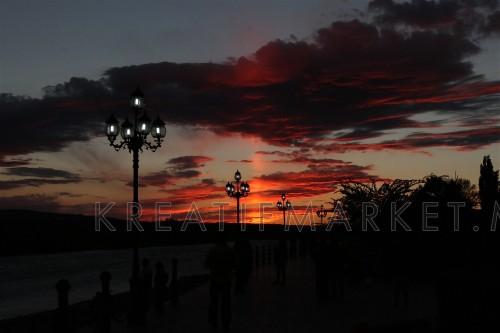 Splendid sunset view at Burqin City, Xinjiang, China.
